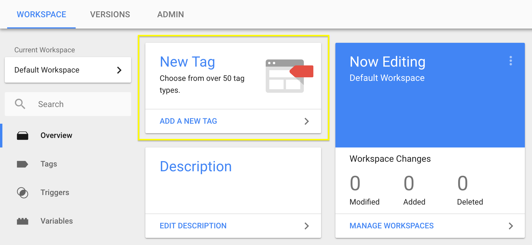 The New Tag link in the Google Tag Manager interface.