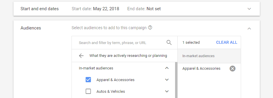 Setting your campaign's dates and target audiences.