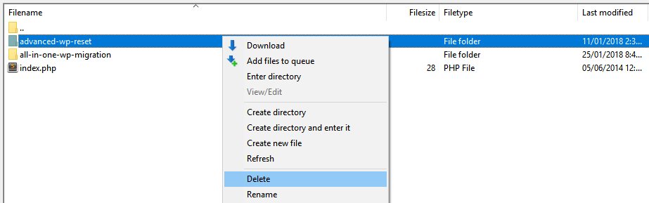 Deleting one of your plugin's folders.