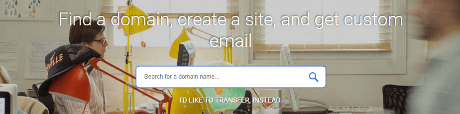 The Google Domains homepage.