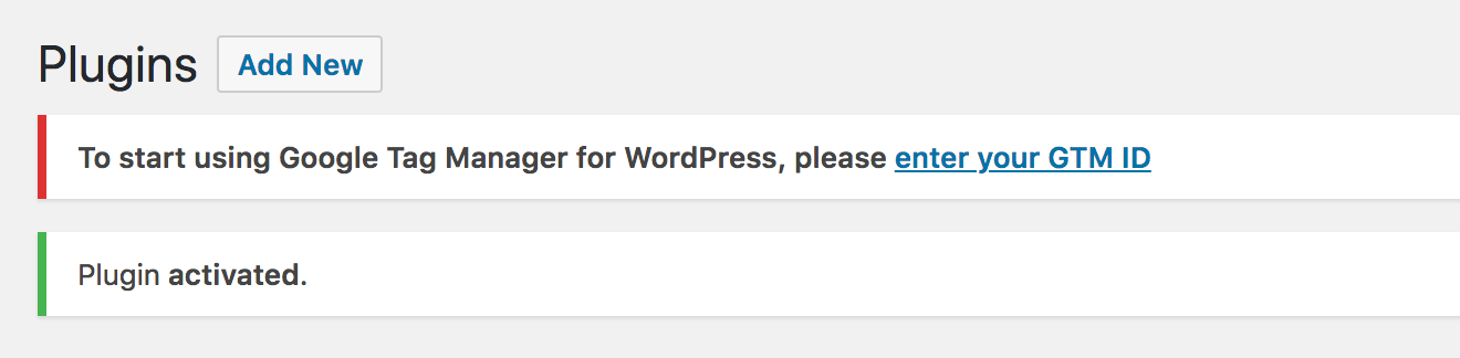 Notification in the WordPress dashboard, saying that you need to enter your GTM ID.