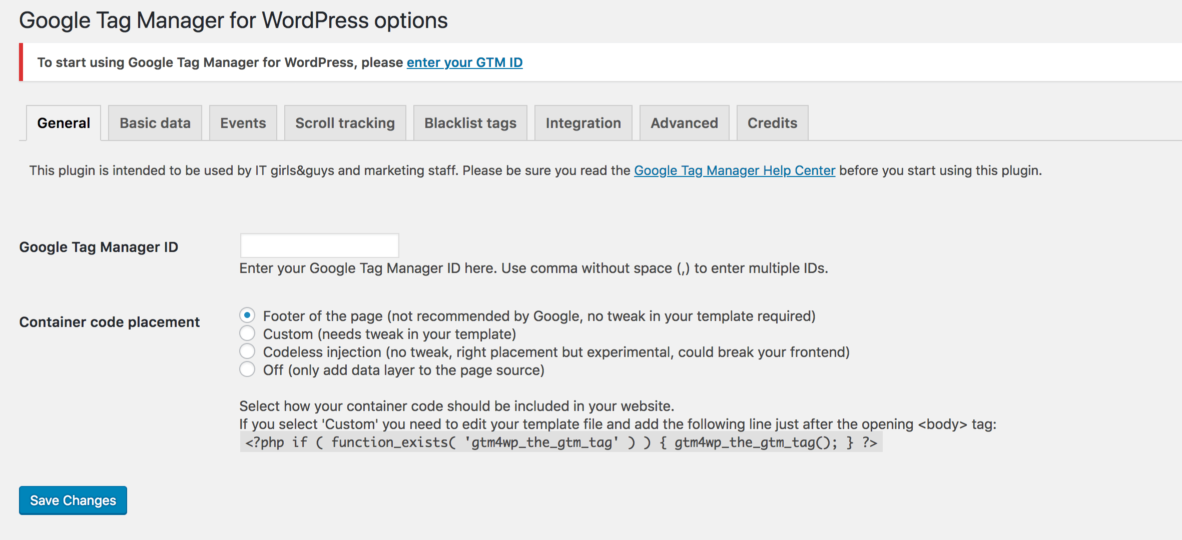 The settings page for DuracellTomi's Google Tag Manager plugin.