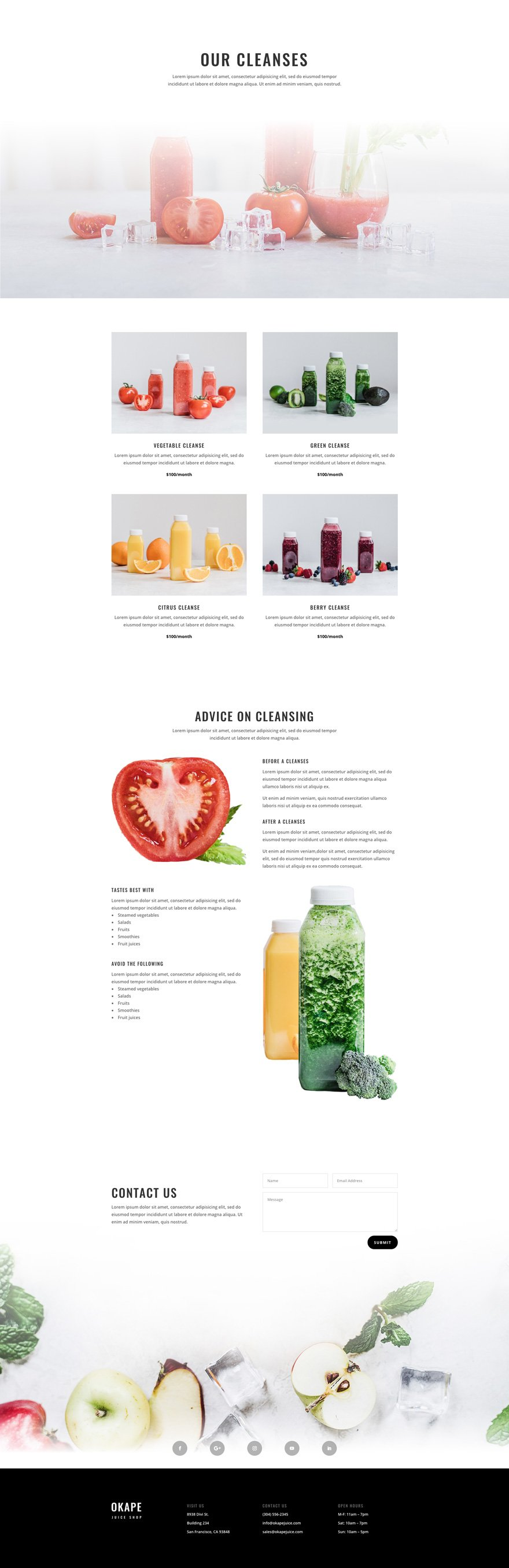 juice shop cleanses page