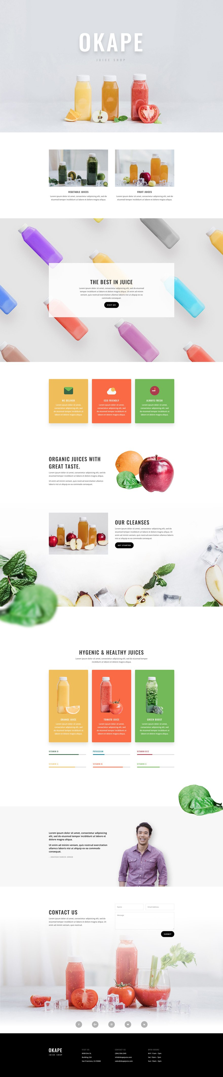 juice shop landing page