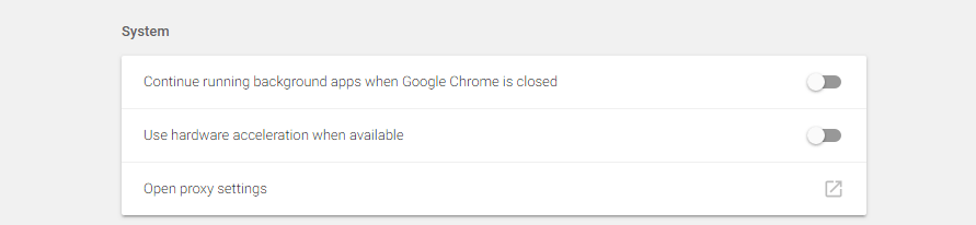 Your Chrome advanced settings.