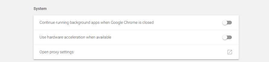 Your Chrome advanced settings.