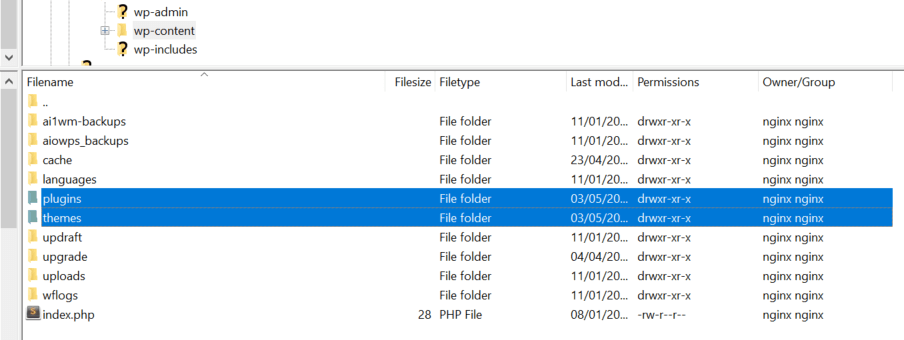 The Plugins and Themes folders.