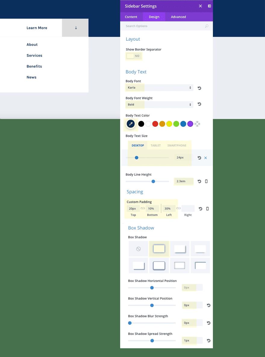 scroll button sidebar image