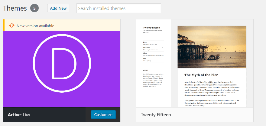 WordPress' Themes tab.