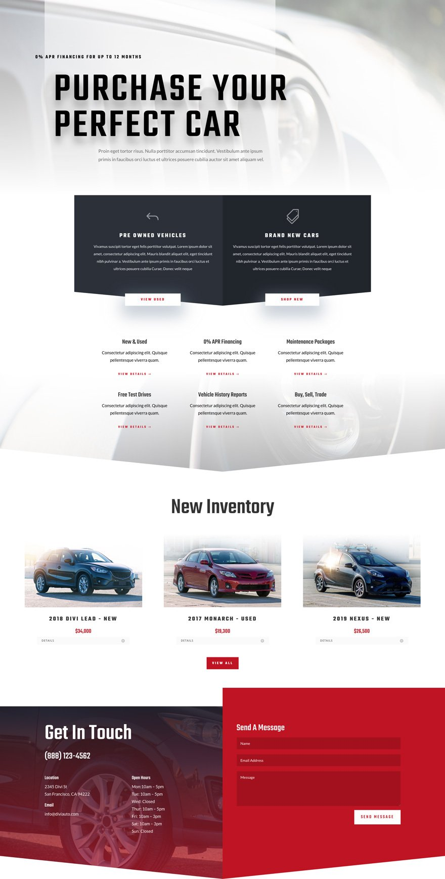 car dealer layout