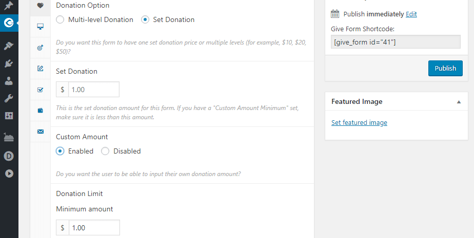 Setting a custom donation amount.