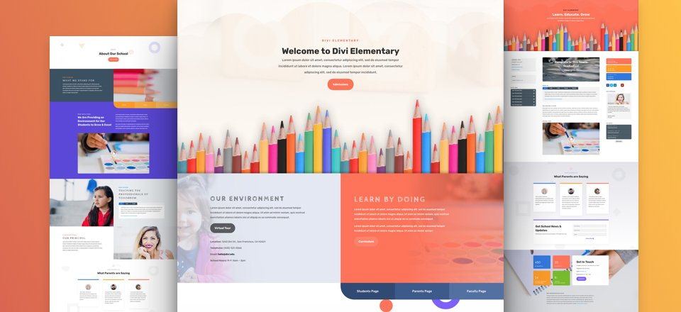 get a free playful elementary school layout pack for divi