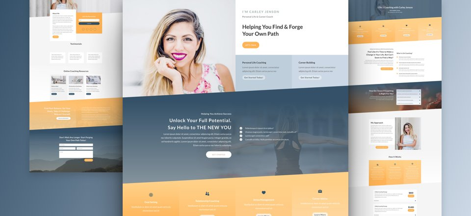 Get a FREE Life Coach Layout Pack for Divi