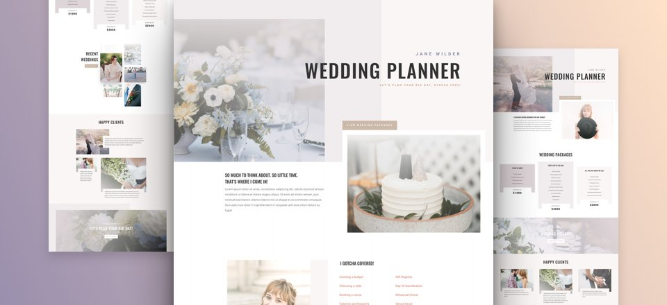 Get A Free Wedding Planner Layout Pack For Divi Elegant