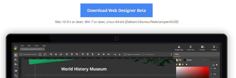 Downloading the Google Web Designer.