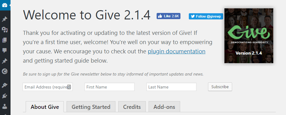 The Give plugin's welcome screen.