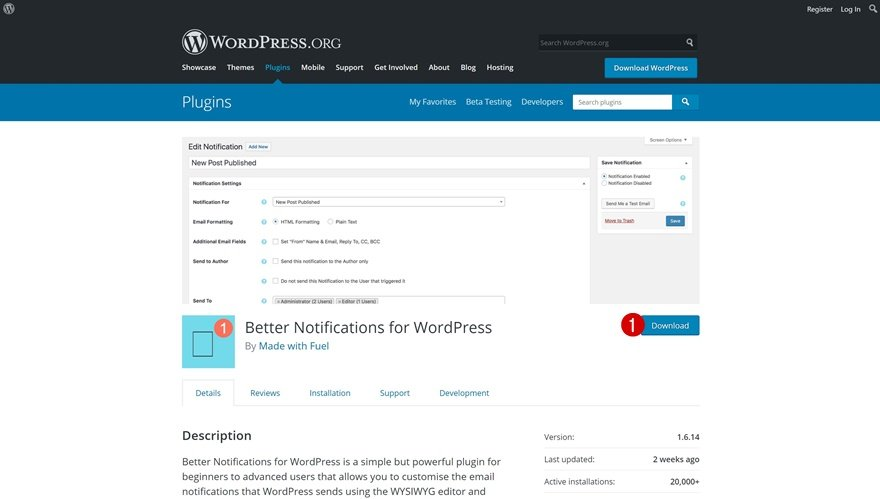 WordPress notifications