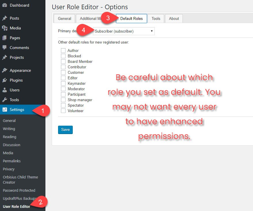 WordPress User Role Permissions