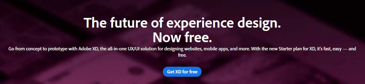The Adobe XD homepage.
