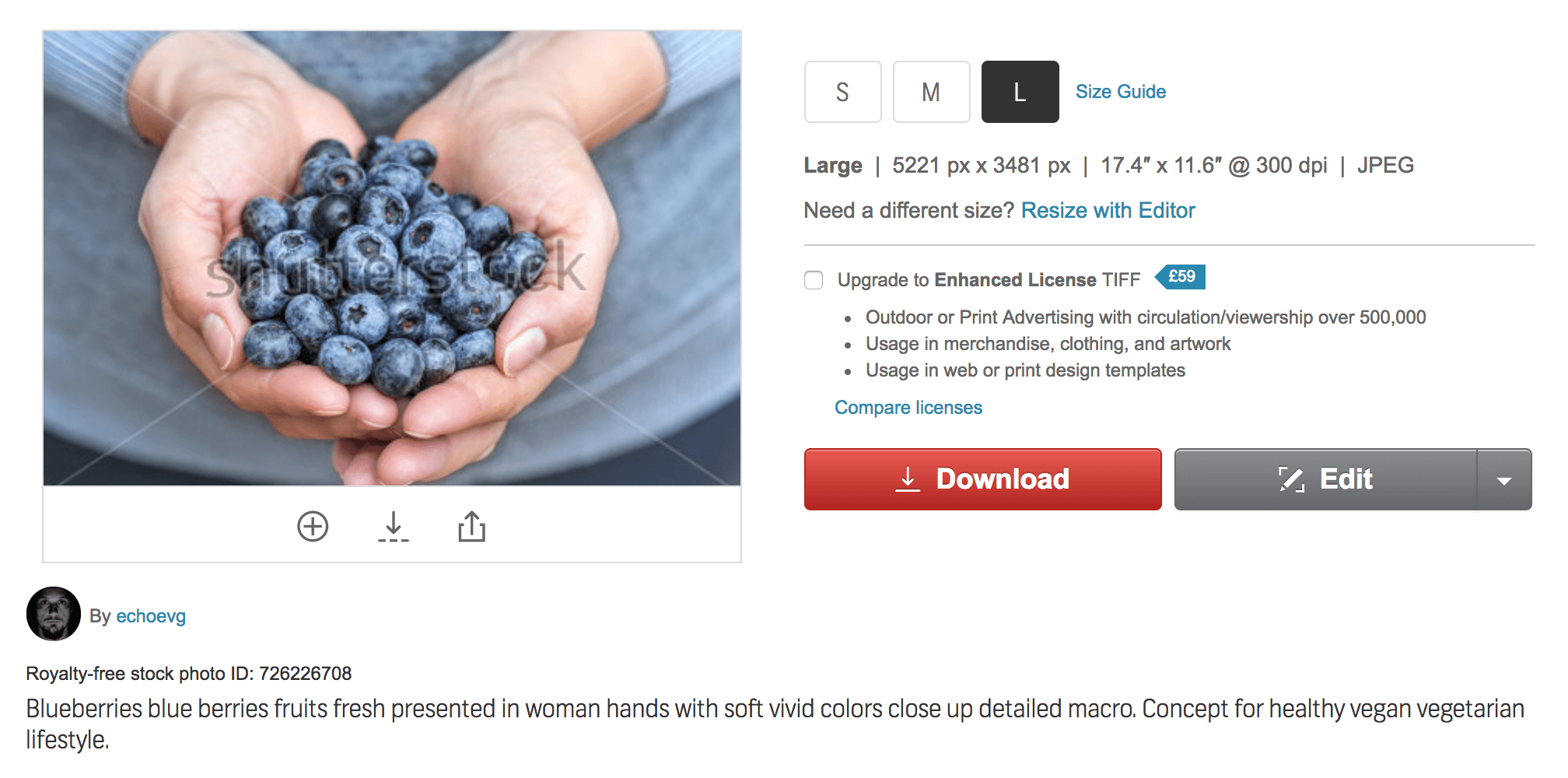 A stock photo of two hands holding blueberries, covered in a Shutterstock watermark.
