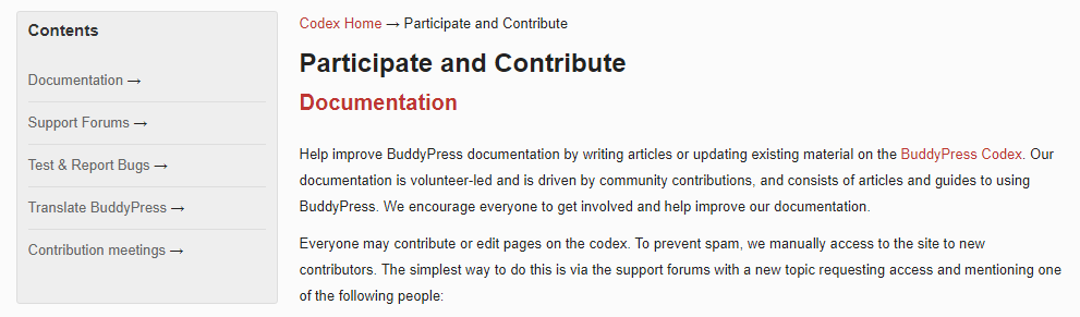 The BuddyPress documentation page.