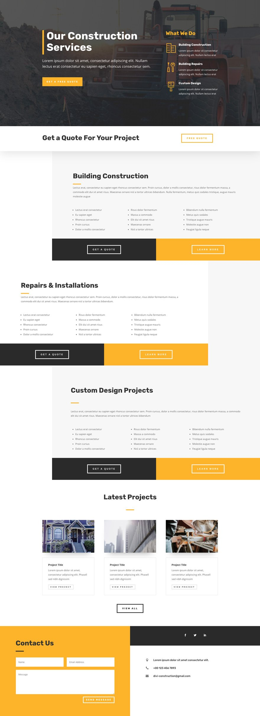 Get A Free Construction Company Layout Pack For Divi Elegant Themes Blog