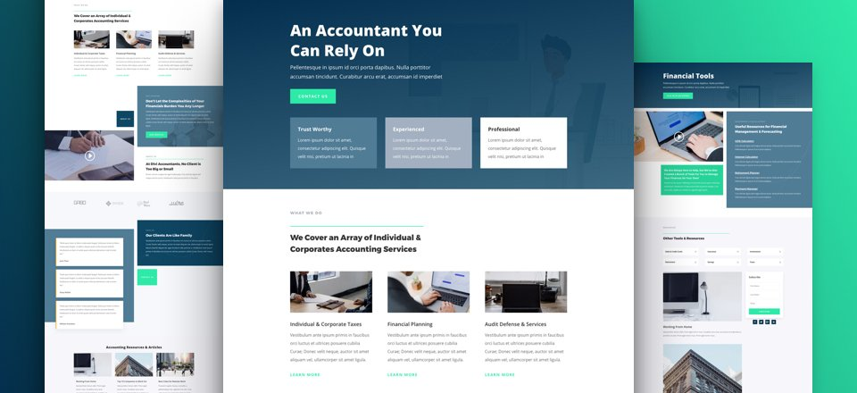 Get a FREE Accountant Layout Pack for Divi