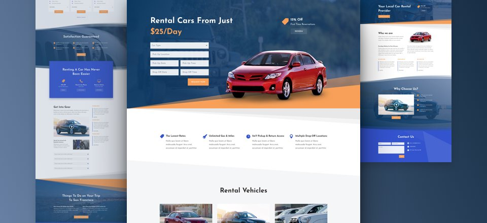 Get a FREE Car Rental Layout Pack for Divi