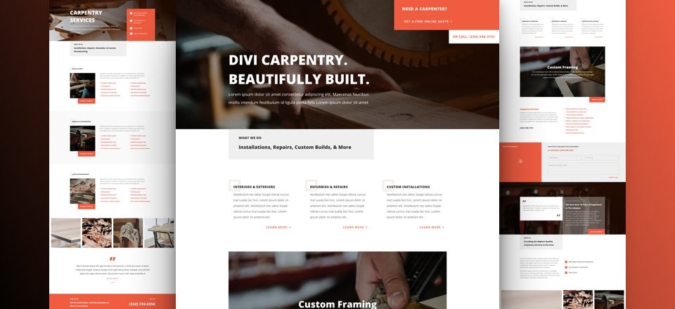 Get a FREE Carpenter Layout Pack for Divi
