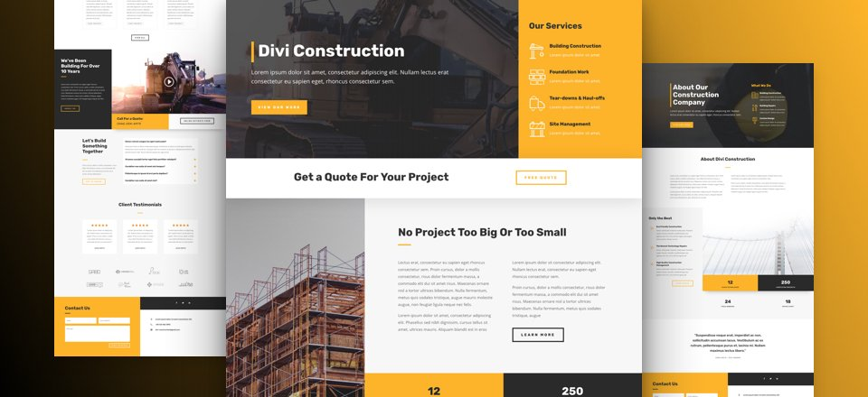 Get a FREE Construction Company Layout Pack for Divi