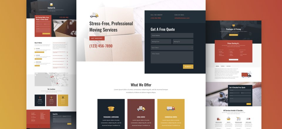 Get a FREE Moving Company Layout Pack for Divi