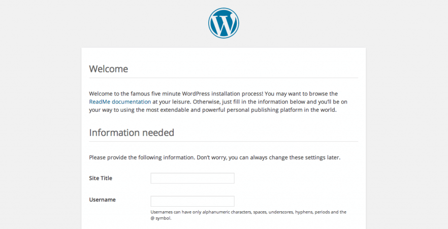 The WordPress five-minute installer.