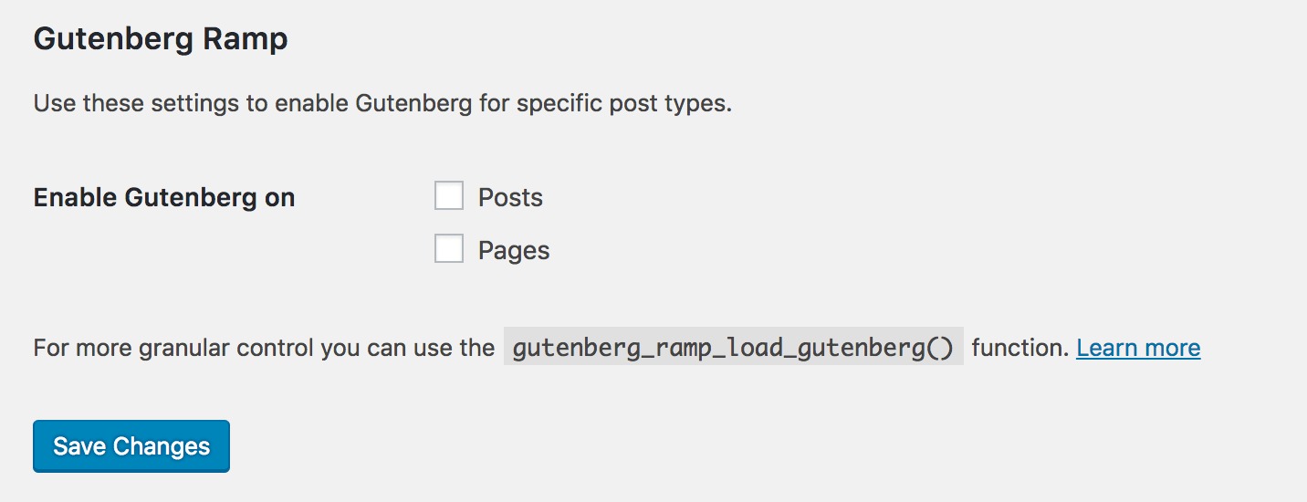 The Gutenberg Ramp options.