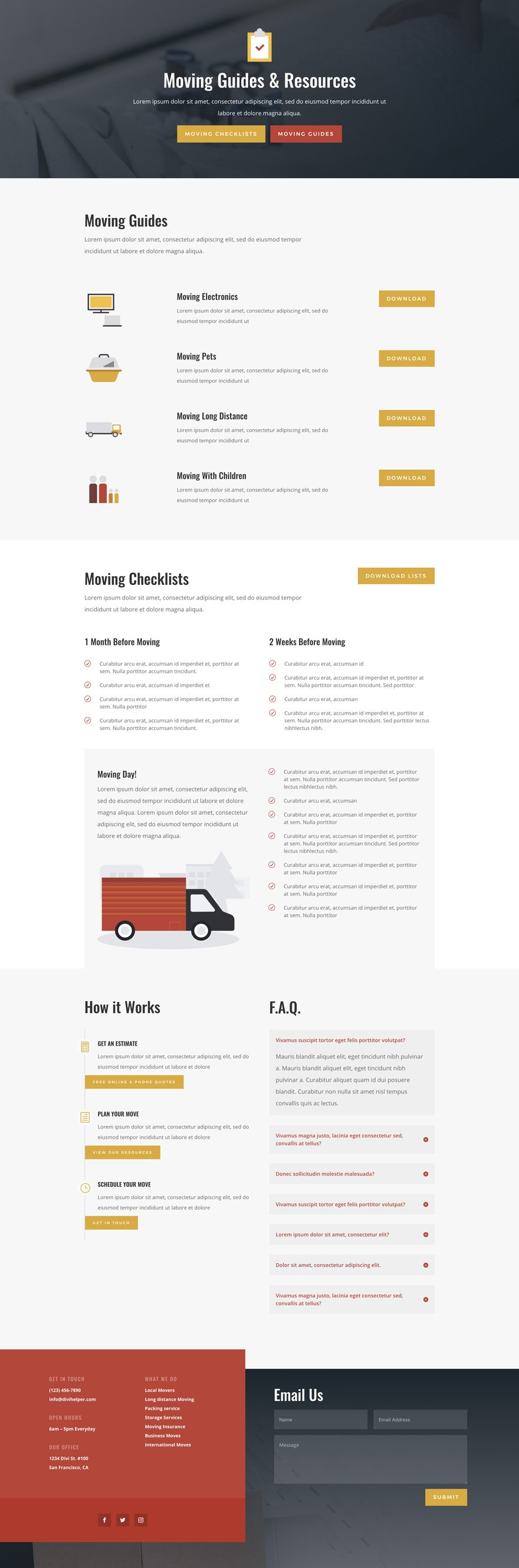 Get a FREE Moving Company Layout Pack for Divi - Ask the Egghead, Inc