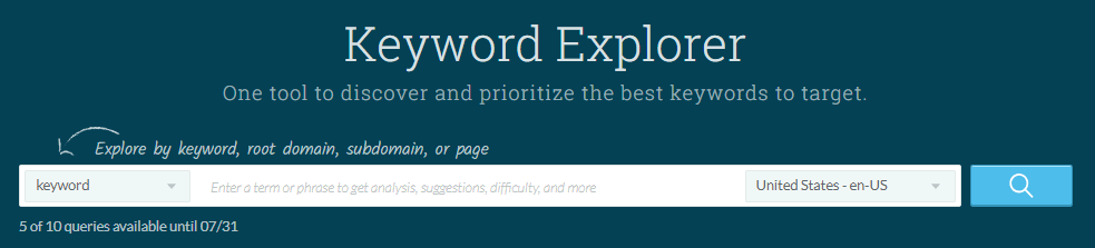 The Moz Keyword Explorer.
