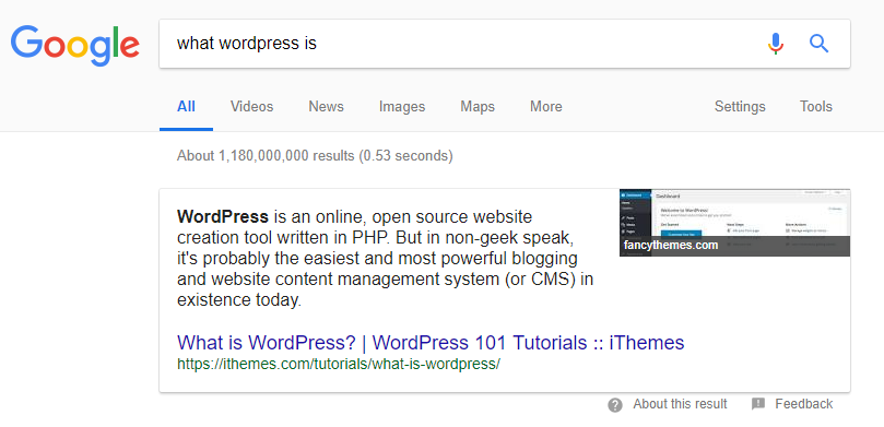 Asking Google what WordPress is.