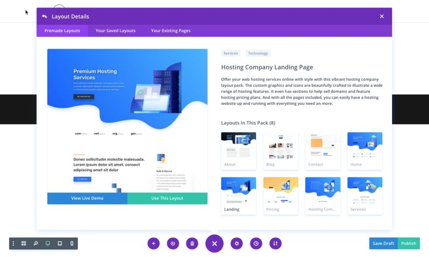 hosting company divi layout pack