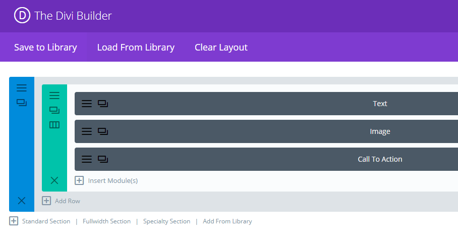 A basic Divi layout.
