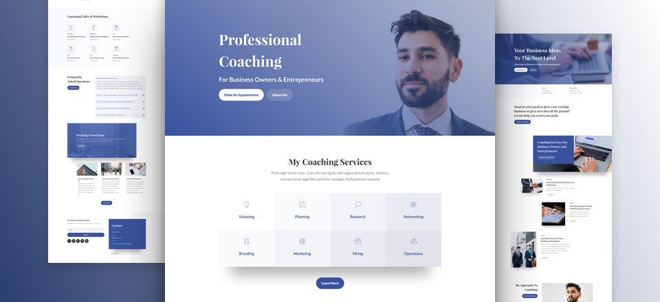 Get a Free Business Coach Layout Pack for Divi | Elegant