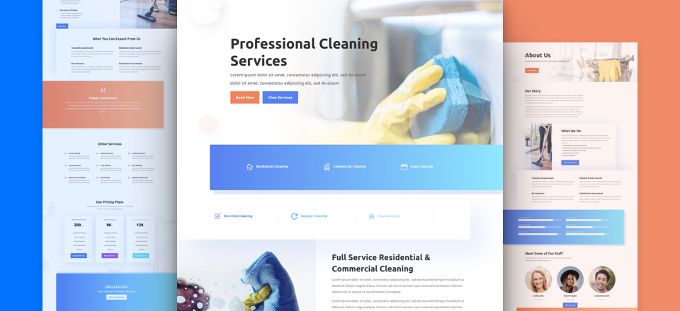Get a FREE Cleaning Company Layout Pack for Divi