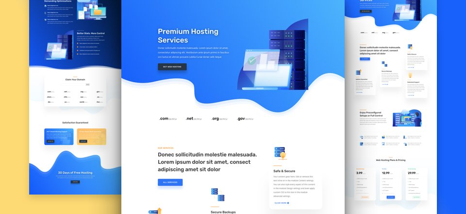 Get a FREE & Vibrant Hosting Company Layout Pack for Divi