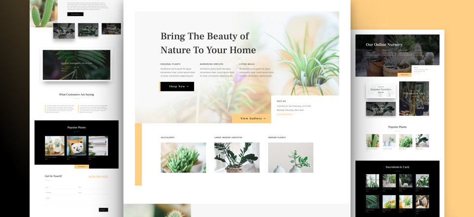 Get a FREE Plant Nursery Layout Pack for Divi