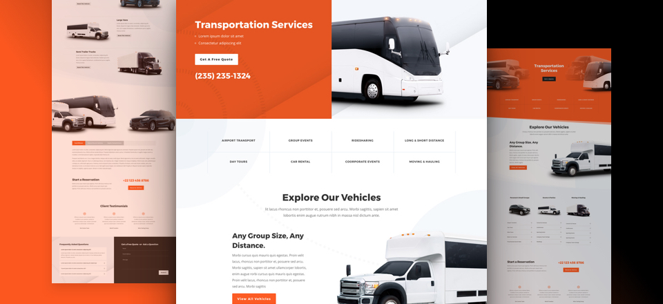Get a FREE Transportation Services Layout Pack for Divi | Elegant