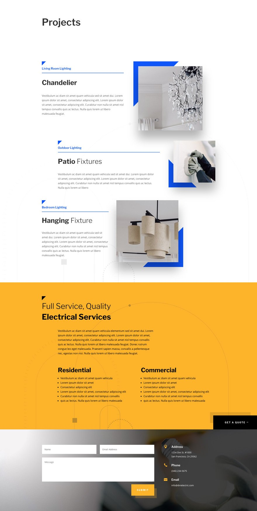 paquete de diseño de electricista Divi