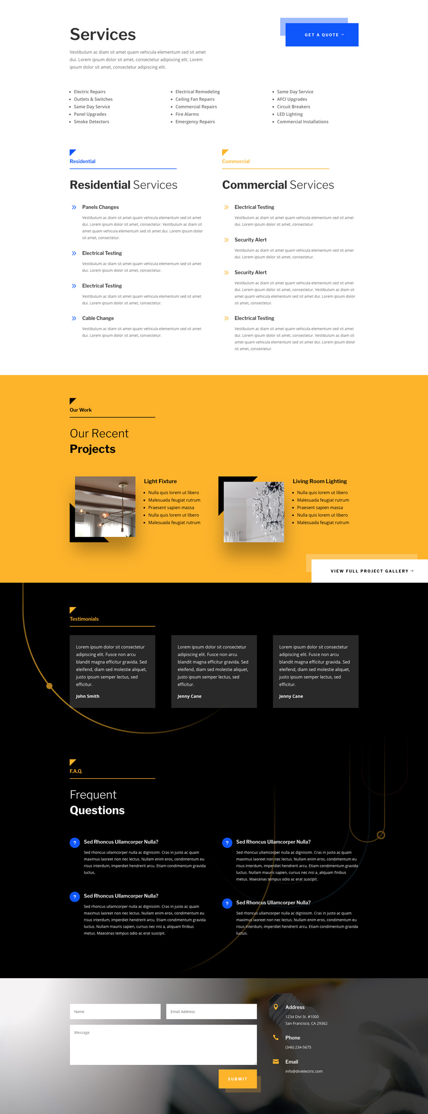 electrician Divi layout pack