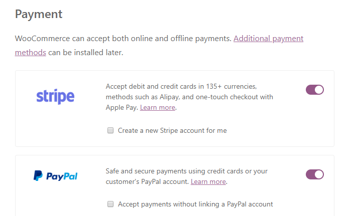 Choosing which payment options to use.