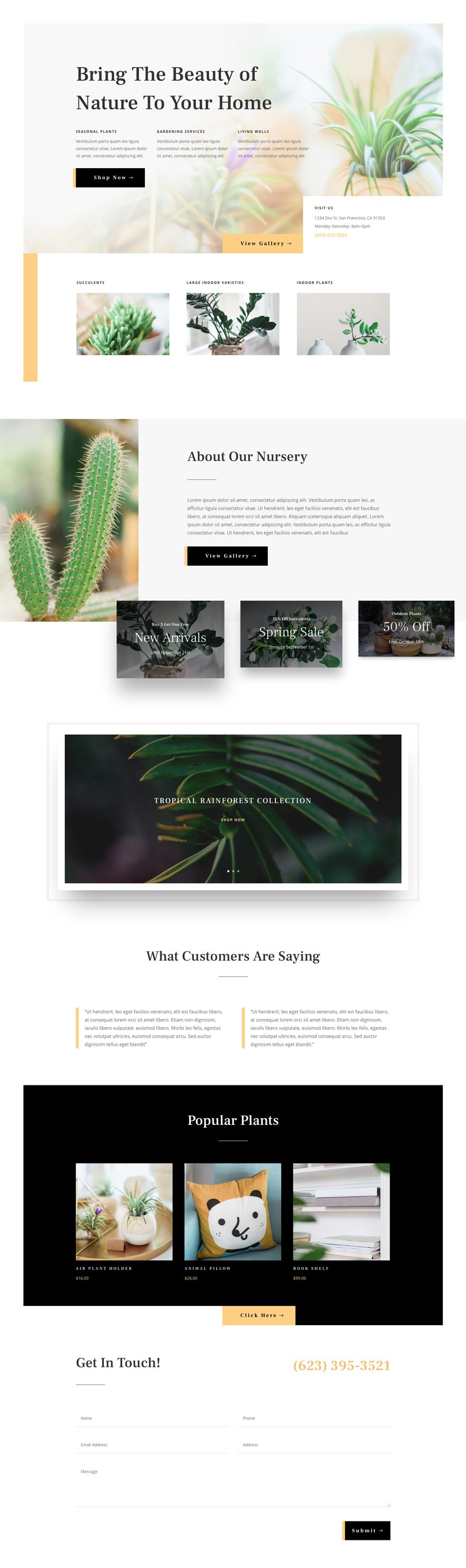 Plant Nursery Layout Pack For Divi