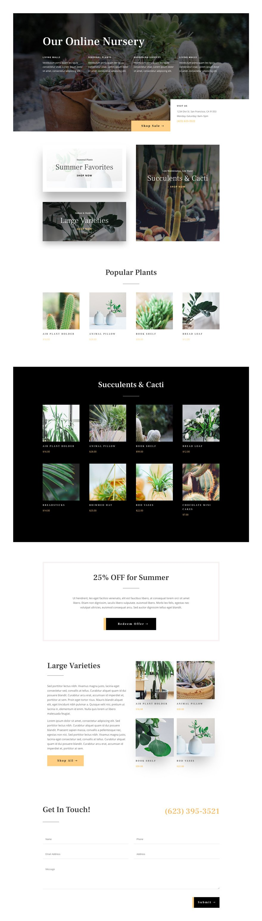 plant nursery Divi Layout Pack