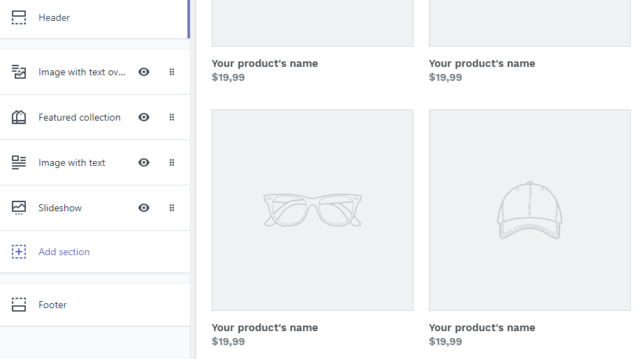 The Shopify editor.