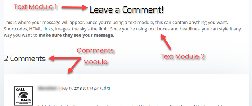 Display a Message Before Comments Section